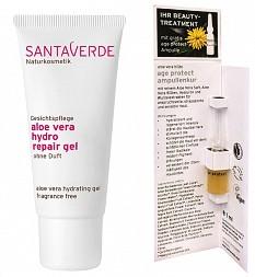 Beauty-Treatment für zu Hause – mit dem Santaverde hydro repair gel und der age protect Ampulle