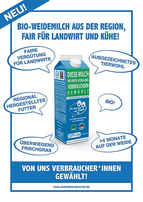 Bio-Milch von 'Du bist hier der Chef!' ab sofort erhältlich